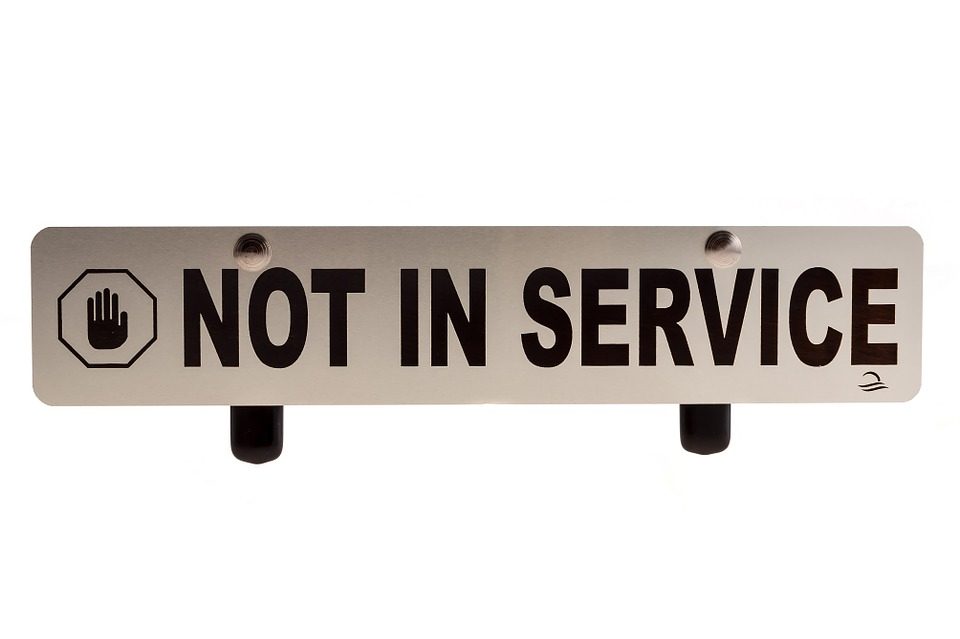 Not in service sign