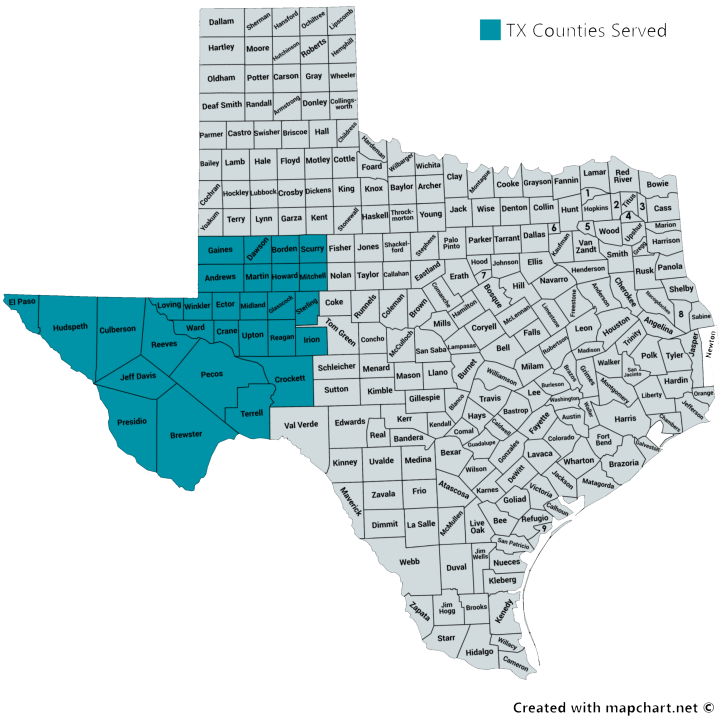 Texas Counties Served